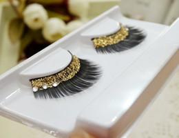 Promotion cils de scène Gros-Crystal Fashion étape or Faux Cils Glitter maquillage lumineux Faux Cils Sequin épais faux cils Livraison gratuite