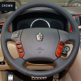 Steering wheel cover Case for Toyota CROWN Genuine leather DIY Hand-stitch Car styling Interior decoration