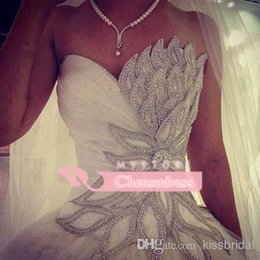 Wholesale 2015 Luxury Real Sample Wedding Dresses Crystal Beaded Leaves Sweetheart Neck Lace Up A Line Court Train White Lace And Satin Bridal Gowns