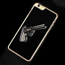 3D Metal Armour army Gun Luxury Black Clear Skin Hard Plastic Back Cover Case for iPhone 5S 6 6S Plus