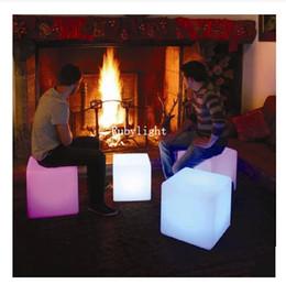 Wholesale Creative lighting furniture plastic LED bench Square CM bench RGB color bench bar home decor set
