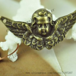 Wholesale DIY Jewelry Accessories Antiqued Bronze Vintage Alloy Cute Baby Angel Necklace Pendant Charms Connector mm