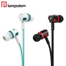 Wholesale Langston Langsdom JM26 mm In ear Flat Wire Headphone Earphone With Mic for iPhone Smartphone Stereo Headset Best Quality With MIC