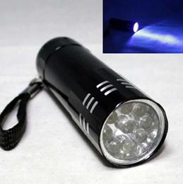 Wholesale 9LED Mini Aluminum UV Ultra Violet LED Flashlight Blacklight Torch Light Lamp