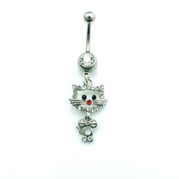 Fashion Belly Button Rings Stainless Steel Bar Silver Plated Rhinestone Cat Navel Rings Body Piercing Jewelry