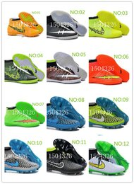 Wholesale-New arrived Soccer cleats Men Boys High Outdoor football shoes Cheap blue Grey High Ankle soccer Shoes free shipping