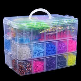 Venta al por mayor 15000 x arco iris coloridos telar de goma banda pulsera DIY haciendo kit desde banda de goma al por mayor del kit de pulsera proveedores