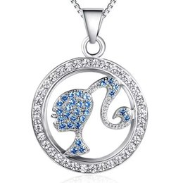 925 sterling silver items jewelry statement necklaces beauty girl circle shaped pendant hot fashion blue color