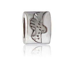 Wholesale 20pcs x1cm Antique Silver Plating Alloy Bird European Bead Big Hole Animal Charm Beads jewelry making DIY