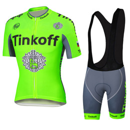 Fluo green Tinkoff Saxo 2016 New Arrival Cycling Jersey Set Short Sleeve With Padded Bib Trousers Ultra Breathable Bike Wear XS-4XL