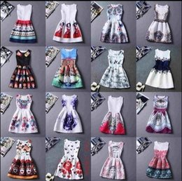 2016 Summer Causal Women Dresses Sleeveless Vintage Print For Party Sexy Club Dresses Cheap Clothes China Beach Bodycon Dress