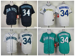 Wholesale 30 Teams Seattle Mariners Baseball Jerseys Felix Hernandez Jersey Black White Blue Blank Cool Base Stitched Best Qualli