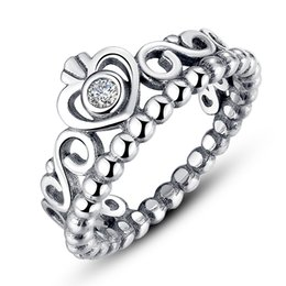 My Princess, Pandora Style Crown Silver Rings with Clear Cubic Zirconia Engagement Wedding Rings for Her R010