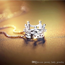 Wholesale Crown Pendant Necklace Wholesale - Free shipping 925 sterling silver diamante hollow charm crystal crown pendant necklace jewelry