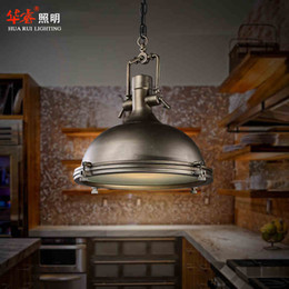 Wholesale RH BENSON PENDANT lamp loft light illuminate kitchen workplace vintage lighting fixture industry style ancient silver or black color fixture
