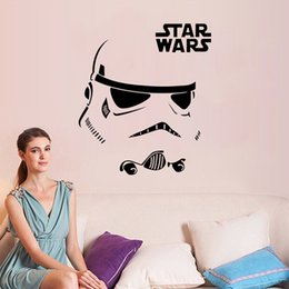 Wholesale 2016 New Famous Star Wars Storm trooper Helmet Wall Sticker Home Decor Living Room Bedroom Wall Decals Vinyl Removable Decor Size Styls