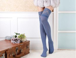 Wholesale-5pairs lot women lace socks cotton over the knee socks girls boot leg warmer free shipping