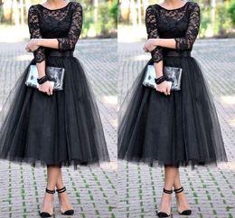2019 Tea Length Bridesmaid Dresses Evening Dress 3 4 Long Sleeves Jewel A Line Black Party Gowns Lace Long Wedding Guest Dresses