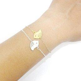 Wholesale-2015 New Fashion Gold Chain Link Bracelet Jewelry Cut Bird Charm Bracelet Gift AB489