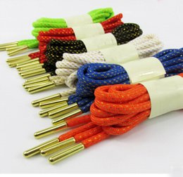 Wholesale 1pair Fashion Metal Round Head Textured Golden Lace Basketball High quality Shoelaces Casual Outdoor Sport inch