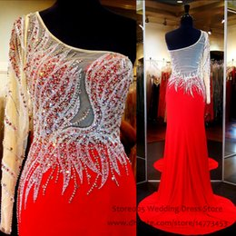 Wholesale Sparkle Teen Red Pageant Dresses for Women One Shoulder Chiffon Long Mermaid Prom Dress with Crystal Sweep Train Beaded Gown L036