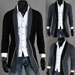Wholesale Cool Jacket Designs - New Fashion Spring Mens Slim Fit Sexy Top Designed Hoodies Jackets Cool Trench Coats Outerwear Tops