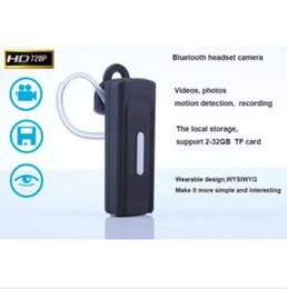 Spy cámara bluetooth auricular tarjeta de TF 1280 * 720P Ocultos auricular Cámara video audio mini videocámara de la detección del movimiento de apoyo 2-32GB desde bluetooth auriculares cámara espía proveedores