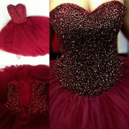 Wholesale Lace Bodice Special Occasion Dresses - 2015 Prom Dresses Ball Gowns with Beaded Bodice Sweetheart Quinceanera Dresses Floor Length Special Occasion Dresses Burgundy Prom Dress