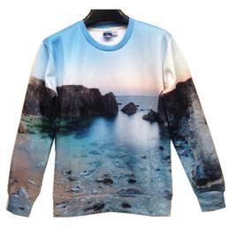 Wholesale w20151222 Couture fashion new men women s d ocean scenery reefs print beautiful landscape casual sweatshirts spring hoodies crewneck