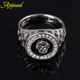 010 New Superman Jewelry Man Real 18K White Gold Plated Rhinestone Finger Ring Black Men Ring Jewelry 2014