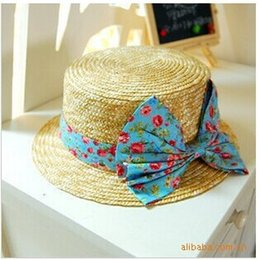 Wholesale Rural wind broken beautiful bowknot magazine model Flat straw hat