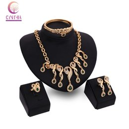 Fashion Accessories Wedding African Beads Emerald costume 18k Gold Plated Crystal Necklace Bangle Earring Ring Jewelry Set