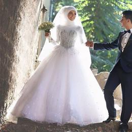 Robes de mariée 2016 musulmans col haut à manches longues perles de cristal strass robe boule étage longueur arabe Robes de mariée à partir de mariage strass robe de cristal fabricateur