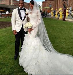Long-sleeved Arabic 2015 Wedding Dresses Cascading Ruffles White Appliques Elegant Lace Bridal Dresses New Design Mermaid Wedding Gowns