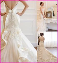 Wholesale Vestido De Noiva New Mermaid Wedding Dresses Lace Bride Dress Sweetheart Sleeveless Robe De Mariage Custom Made UV