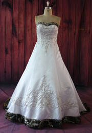 Wholesale A Line Sweetheart Crystal Beading Embroidery Button Decor Satin Camo Wedding Dress Bodice Wedding Gown Lace up Vestidos De Novia
