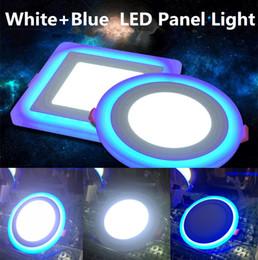 2017 синяя панель Светодиодные светильники 6W 9W 16W 3 режима освещения Светодиодная панель Круглой площади Акриловые синий / Холодный / теплый белый светодиодные утопленный свет потолочные лампы AC85-265V дешевый синяя панель