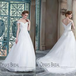 2015 Latest A Line Wedding dresses Lace Appliques Pleats Off Shoulder Sweetheart Neckline Court Train Bridal Gowns
