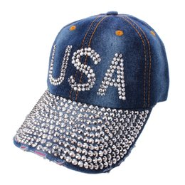 Wholesale Korean Rhinestone Bling USA Letter Hope Hats Fashion Snapback Hats Trend Adjustable Washed Denim Baseball Caps Denim Cap