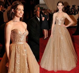 Wholesale 2015 Blingbling shiny sequins Ann Hathaway Emmy Awards red carpet celebrity dresses sexy backless sweetheart sweep train prom gowns BO7048