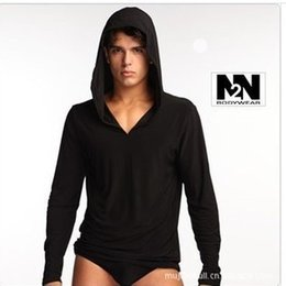 Wholesale New N2N Brand setslong sleeve drawstring sleepwear for men high quality with hat ice silk comfortable hot suit