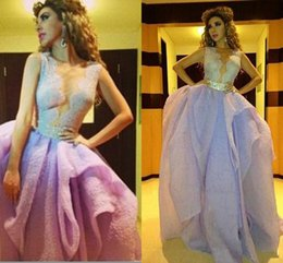 Latest Myriam Fares Long Evening Dresses Lavander V Neck Lace Bodice Beaded Pearls Party Organza Prom Dress