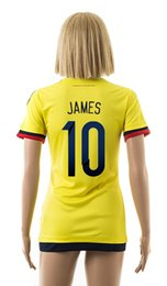 Wholesale 15 new Colombia home yellow football jersey JAMES women s soccer shirt female athletic outdoor apparel girl s short sleeve sportswear