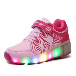 Wholesale Heelys Children Roller Shoes Boy Girl Automatic LED Lighted Flashing Roller Skates Kids Fashion Sneakers With Wheel