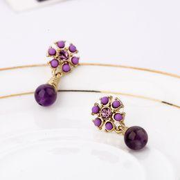 Wholesale Vintage Costume Hot Sale Sleeper Earrings Designer Amethyst Fashion Brazil Jewelry Purple Earrings