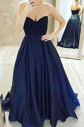 Wholesale Nouveau Custom made Bleu marine Robes arabe Dubaï Sweatheart Neck perles une ligne superbe balayage de robe de soirée Robes Party Train