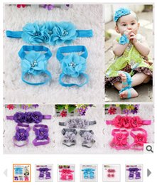 Children Sew-water drill chiffon flower hair band baby foot flower wrist flower suits Europe 10pcs