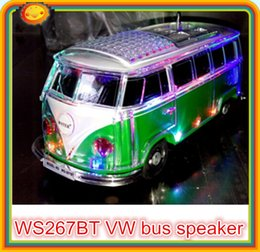 Wholesale 20pcs new promotion factory price mini bluetooth bus stereo led crystal speaker ws bt bt bluetooth car speaker for children gift