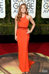 Wholesale 2016 New Amy Adams rd Golden Globe Awards Evening Dresses Cheap Crew Neck Cheap Formal Long Red Carpet Celebrity Dresses With Sequins