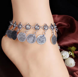 wholesale Womens Barefoot Foot Jewelry Ankle Bracelet Antique Silver Plated Coin Charming Anklet Jewelry Fashion Accessory